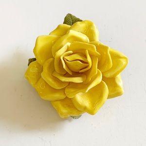 Vintage Hard Plastic Yellow Rose Brooch